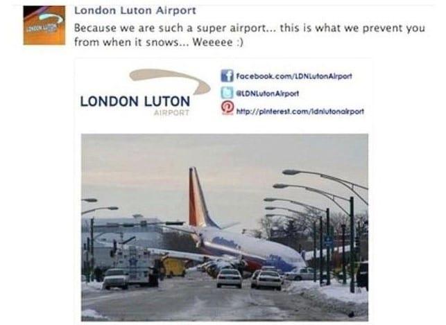 social media blunders london luton airport